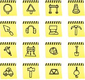 Roadwork and construction post it note icon set