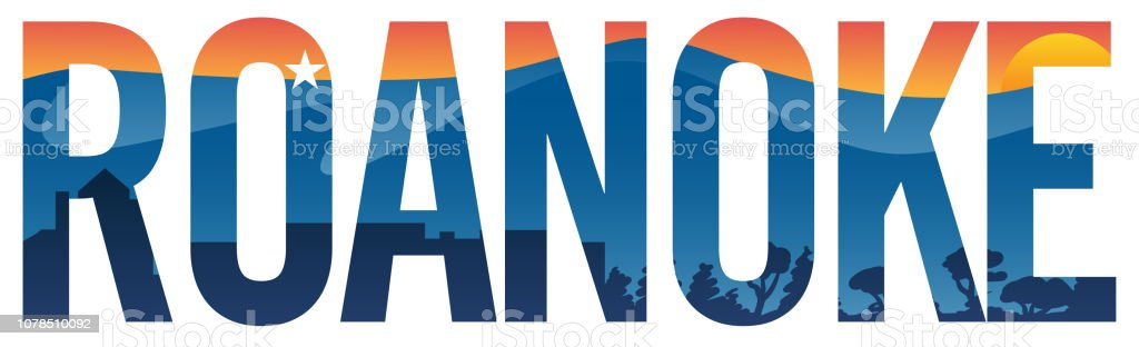 Roanoke pride vector illustration with mountains, star, cityscape and sunset vector art illustration