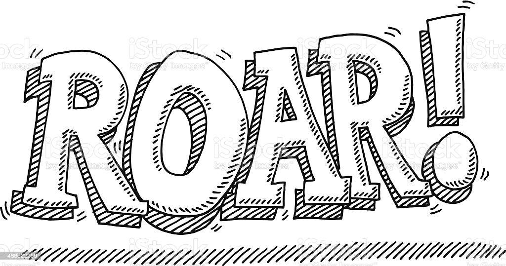 Roar! Lion Noise Comic Text Drawing vector art illustration
