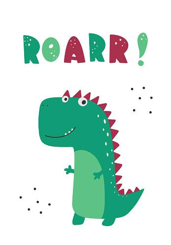 Roar slogan graphic with funny dinosaur cartoons.