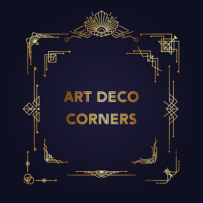 Roaring 20s Design templates - Art Deco vintage corners. Retro linear elements for invitation cards and banners