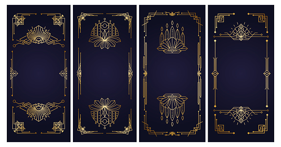 Roaring 20s - Design templates. Art Deco vintage gold frames. Retro linear elements for invitation, cards, banners