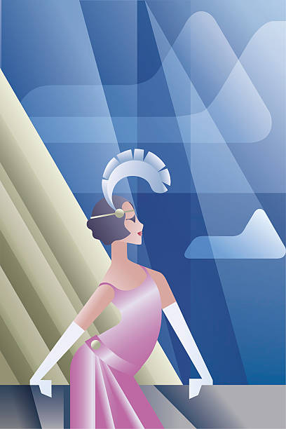 Roaring 20s poster with flappers day sky vector art illustration