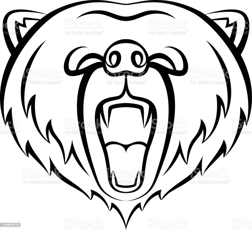 Roaring bear icon isolated on a white background. vector art illustration