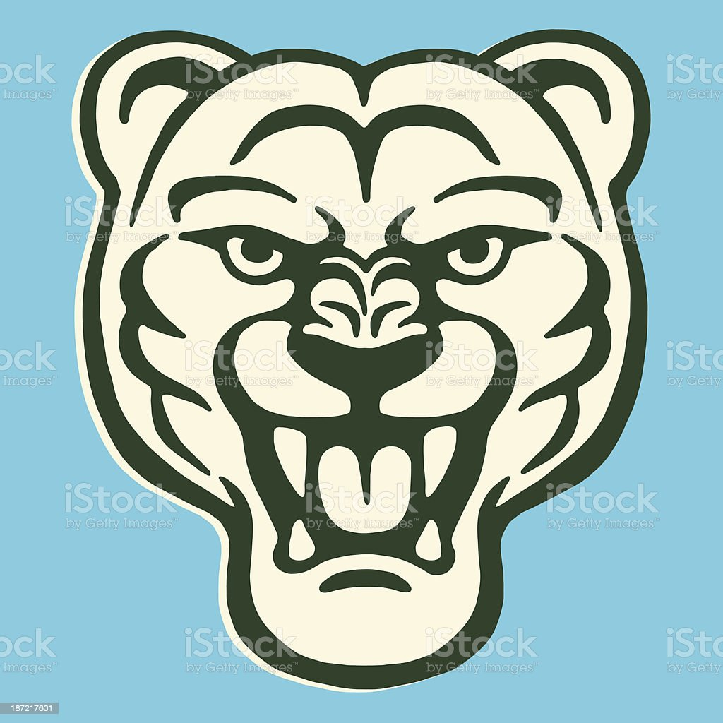 Roaring Big Cat vector art illustration