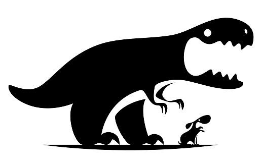 roaring dinosaur and barking dog symbol