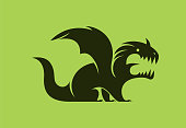 vector illustration of roaring dragon silhouette