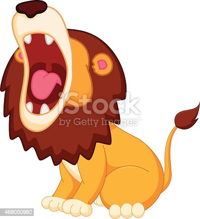 istock Roaring lion cartoon 468050982