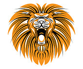 vector illustration of roaring lion head