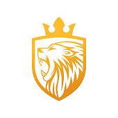 Lion Logo Vector Design Illustrator. Luxury Roaring Lion Head Logo Design Template. Abstract Lion Crest Logo Vector Design.