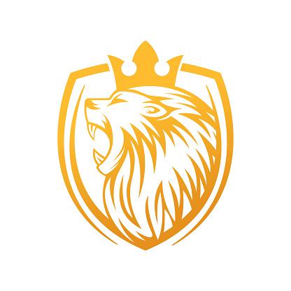 Roaring Lion Logo Vector Design Illustrator. Luxury Roaring Lion Head Logo Design Template. Abstract Lion Crest Logo Vector Design.