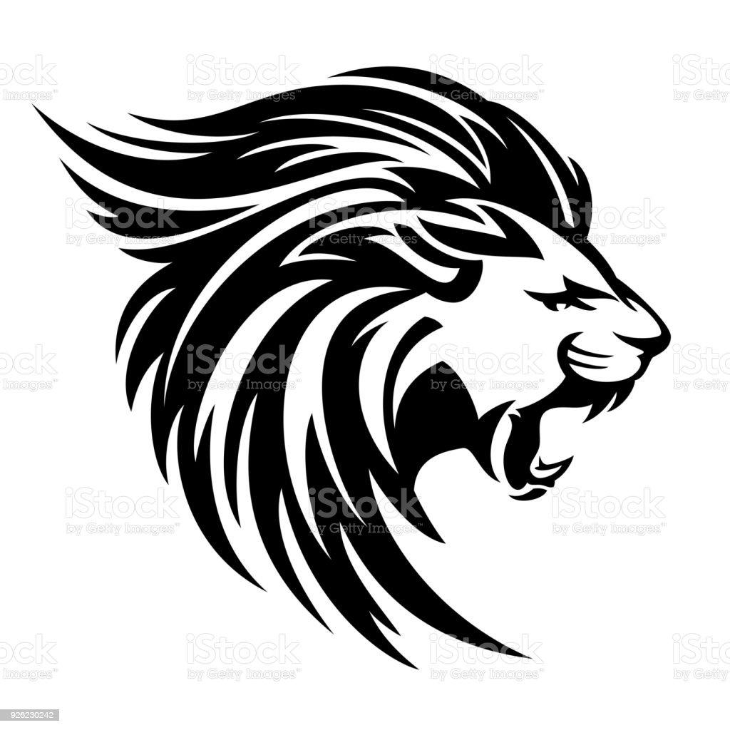 roaring lion profile vector design vector art illustration