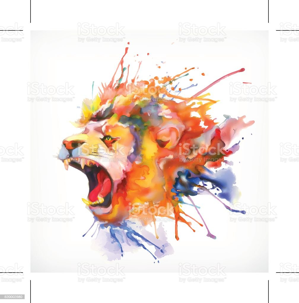 Roaring lion vector illustration vector art illustration