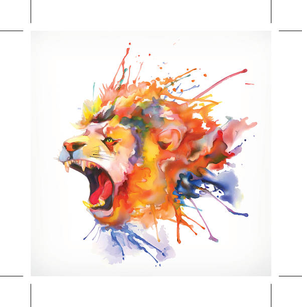 roaring lion vector illustration - lion stock illustrations, clip art, cartoons, & icons