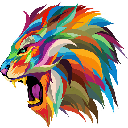 roaring lion vector.multicolored roaring lion's head vector,abstract.colorful lion vector ,pop art style.