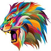 istock roaring lion vector.multicolored roaring lion's head vector,abstract.colorful lion vector ,pop art style. 1256605224
