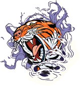 Roaring Tiger Ripping through Background Vector Illustration