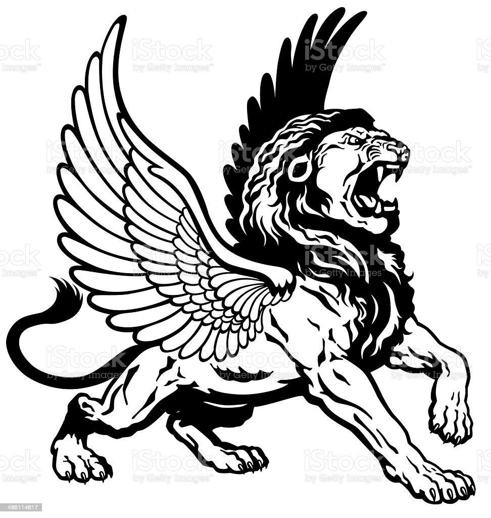 roaring winged lion black white vector art illustration