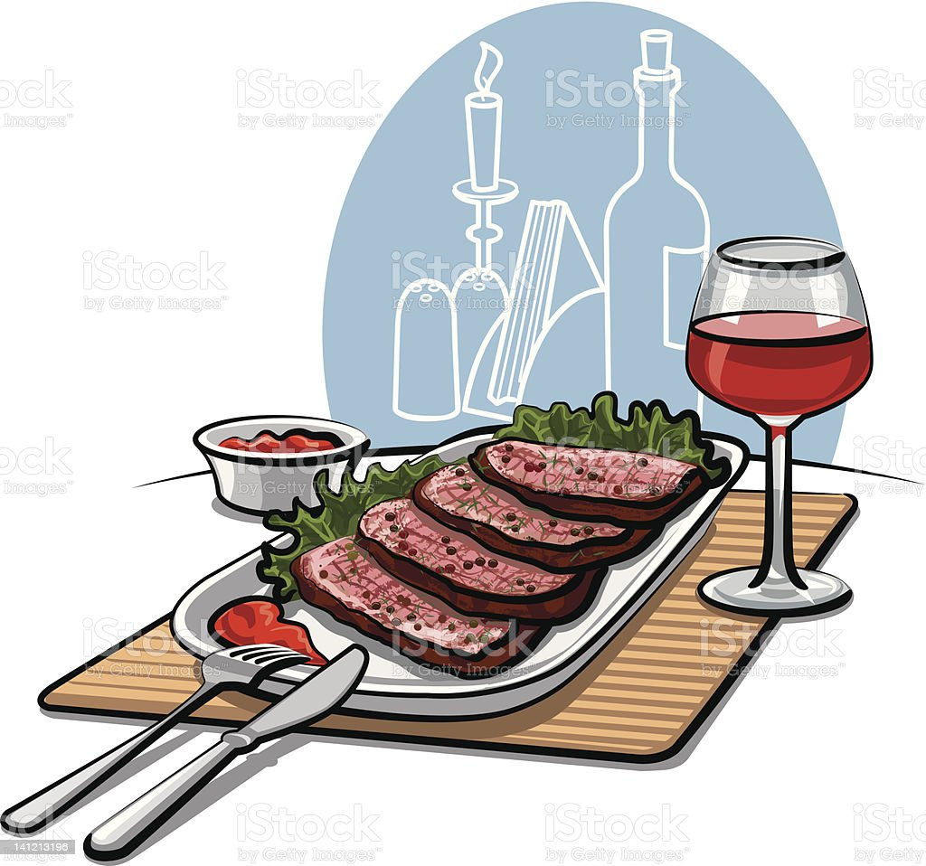 Roast beef and wine royalty-free stock vector art