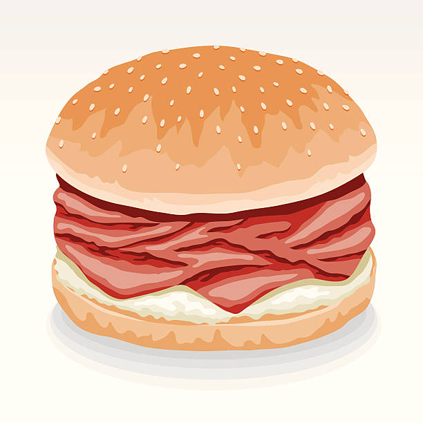 roast beef sandwich mit meerrettich - roastbeef stock-grafiken, -clipart, -cartoons und -symbole