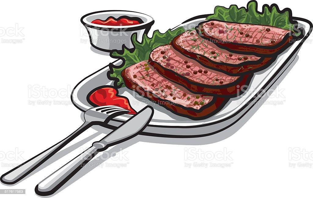 roast beef with sauce vector art illustration