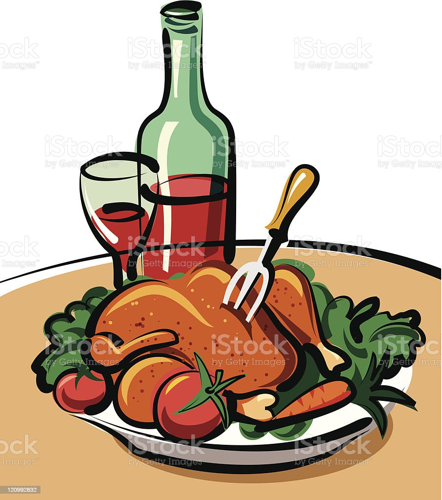 roast chicken and red wine royalty-free roast chicken and red wine stock vector art & more images of animal body part