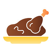 istock Roast chicken flat icon. Roasted turkey color icons in trendy flat style. Grilled meat gradient style design, designed for web and app. Eps 10. 1209494870