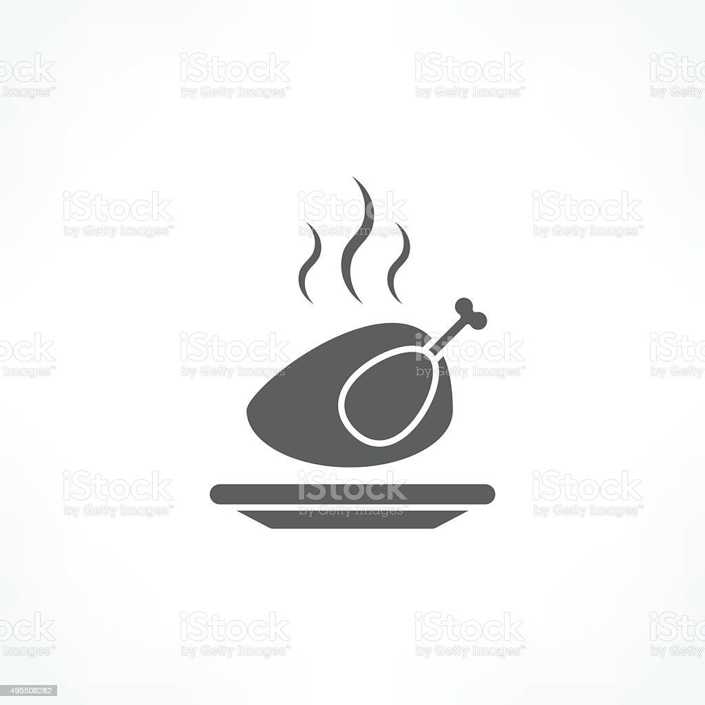 roast chicken icon vector art illustration