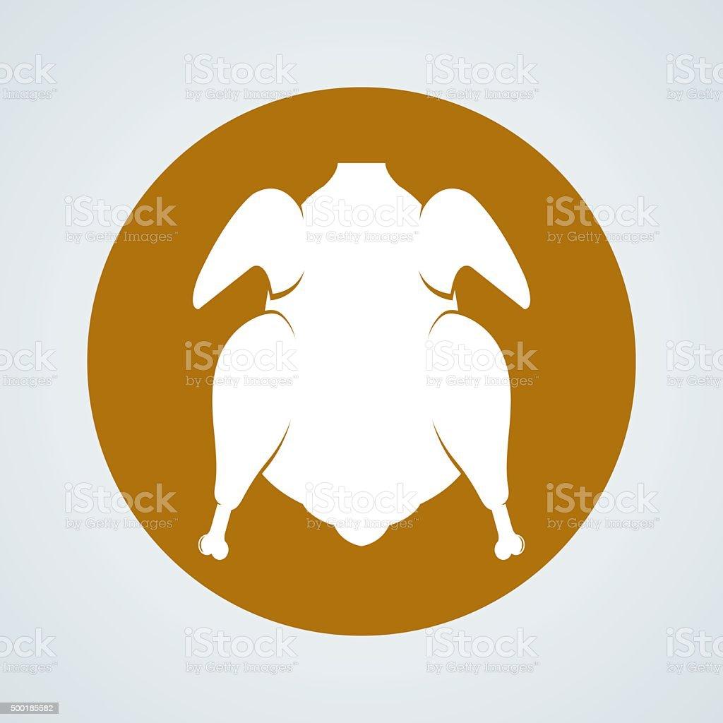 Roast chicken icon vector vector art illustration