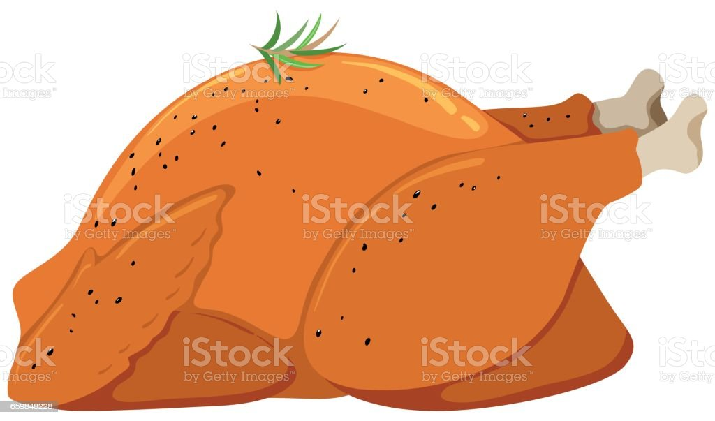 Roast chicken on white background vector art illustration