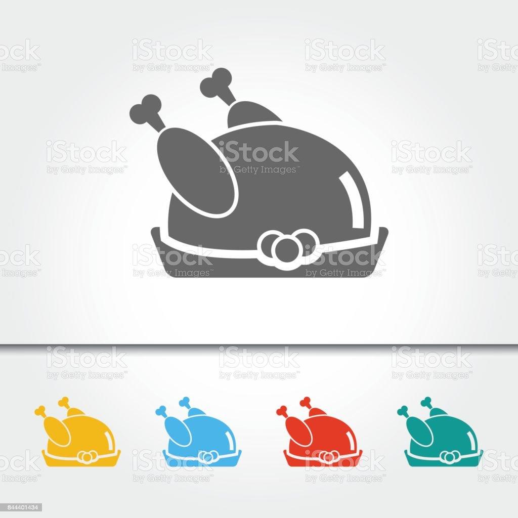 Roast Chicken or Turkey Single Icon Vector Illustration vector art illustration
