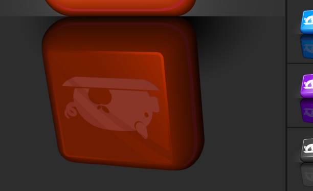 schweinebraten 3d-knopf-design - schweinebraten stock-grafiken, -clipart, -cartoons und -symbole