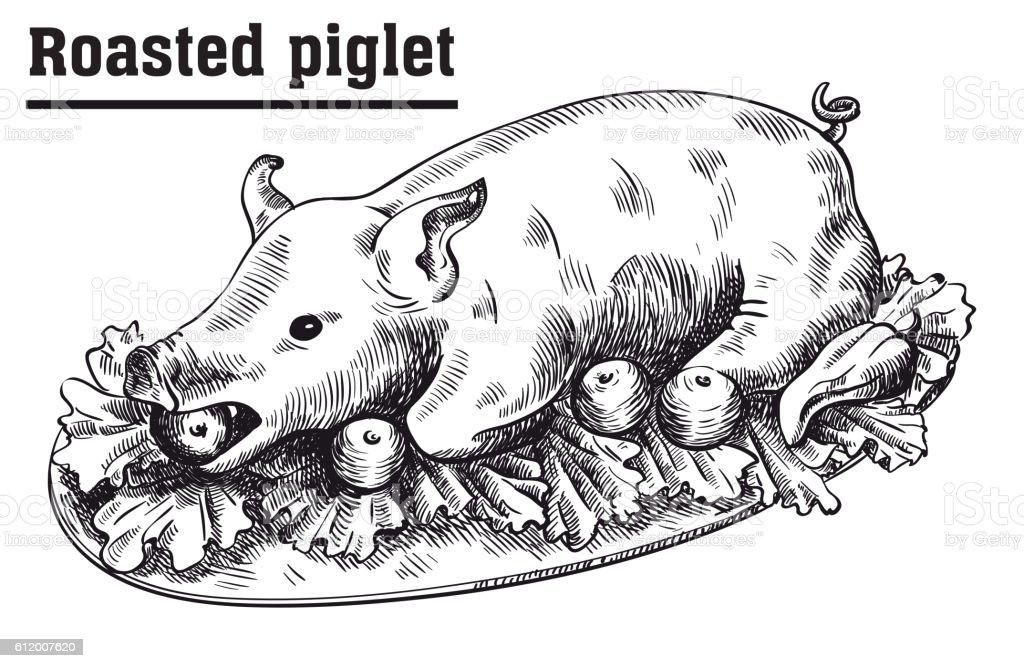 Roast suckling pig. Roasted piglet with vegetables on platter. vector art illustration