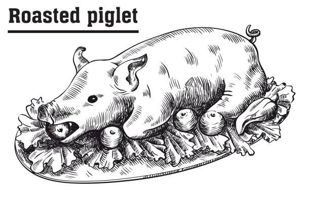 roast suckling pig. roasted piglet with vegetables on platter. - roastbeef stock-grafiken, -clipart, -cartoons und -symbole