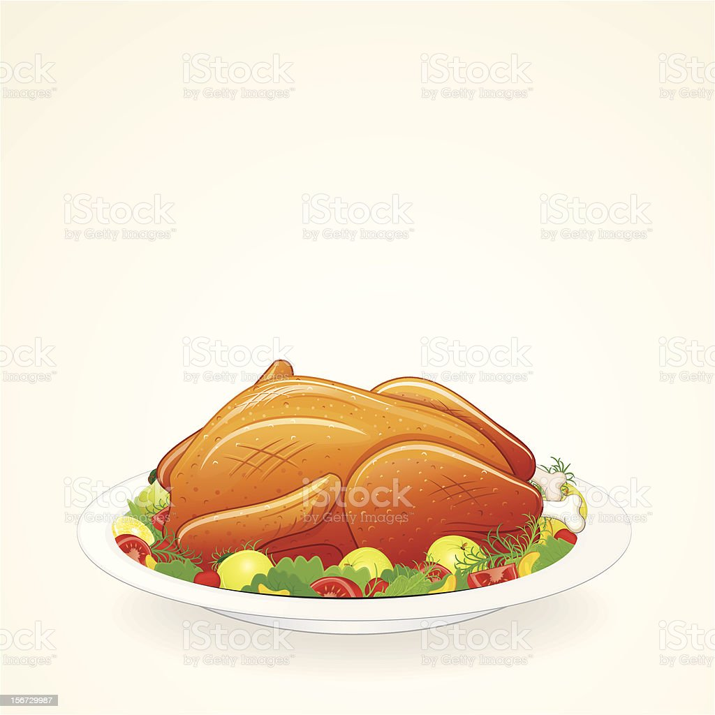 Roast Turkey Dinner royalty-free roast turkey dinner stock vector art & more images of bird