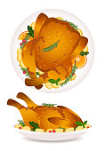 Thanksgiving Day roast turkey isolated on a white background.