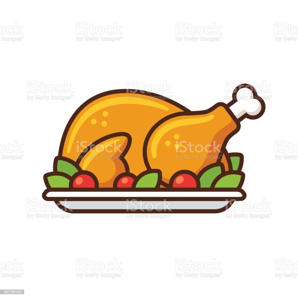 roast turkey icon vector art illustration
