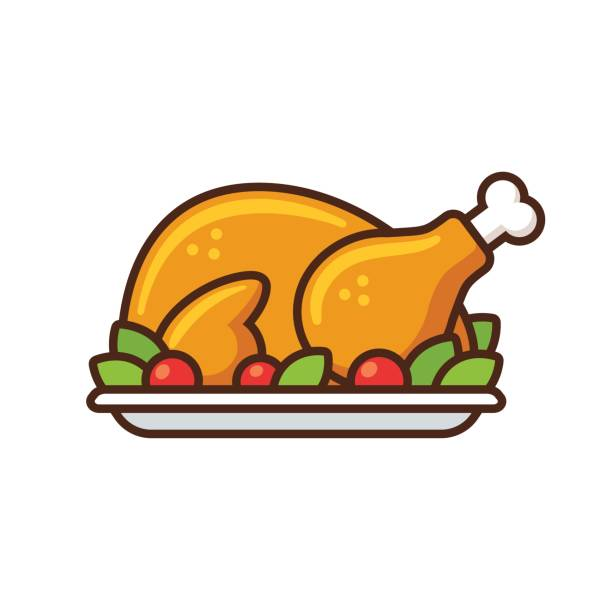 roast turkey icon Roast turkey or chicken icon, flat cartoon vector illustration. Thanksgiving day dinner. stuffed stock illustrations
