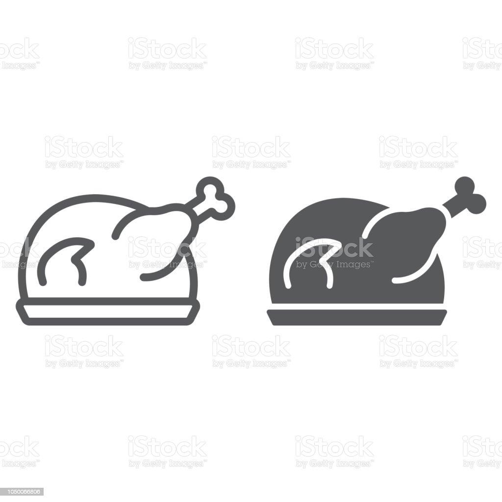 Asado con icono de línea y glifo de Turquía, carne y alimentos, muestra de pollo, gráficos vectoriales, un patrón linear sobre un fondo blanco. - arte vectorial de Al horno libre de derechos