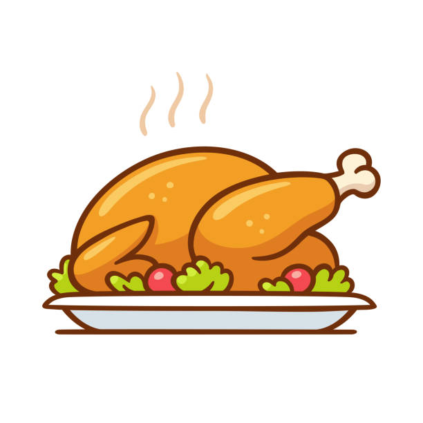 Roast turkey or chicken dinner Roast turkey or chicken on plate, traditional Thanksgiving or Christmas dinner vector clip art illustration. Simple cartoon style isolated drawing. stuffed stock illustrations