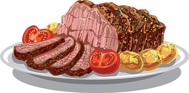 roastbeef with baked poatoes - roastbeef stock-grafiken, -clipart, -cartoons und -symbole