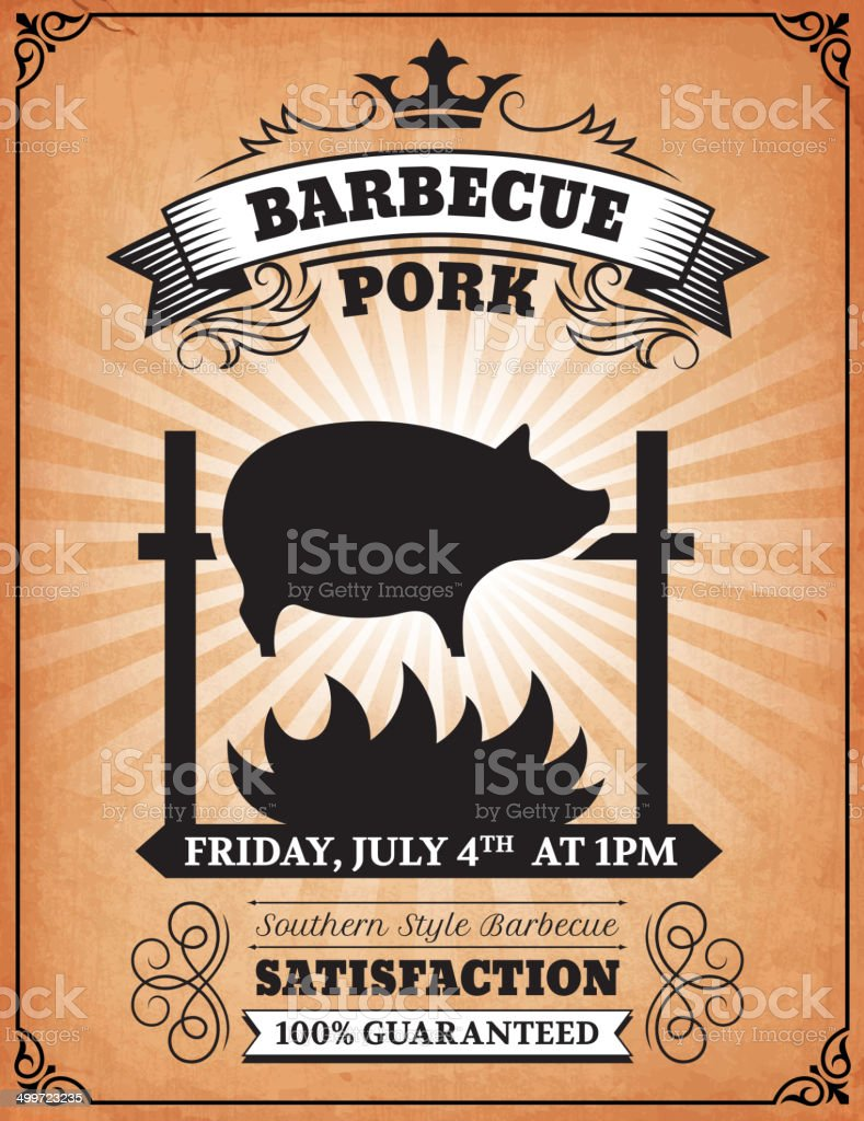 Roasted BBQ Pork Poster on royalty free vector Background royalty-free roasted bbq pork poster on royalty free vector background stock vector art & more images of advertisement