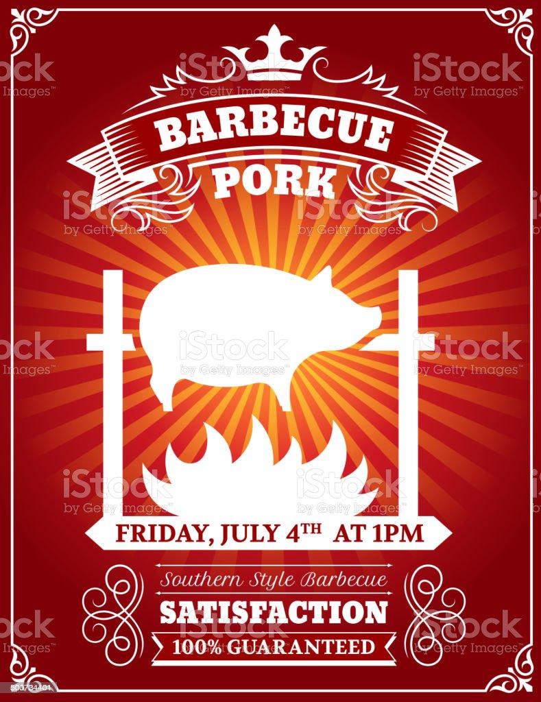Roasted BBQ Pork Poster vector art illustration