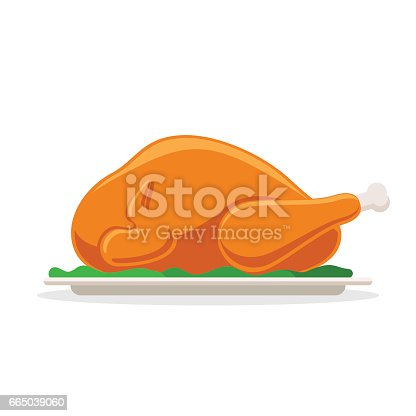 Roasted bird on a platter. Fried poultry sign. Food for gala dinner. Vector illustration in cartoon style isolated on white background