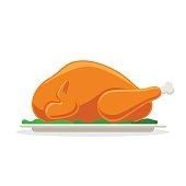 Roasted bird on a platter