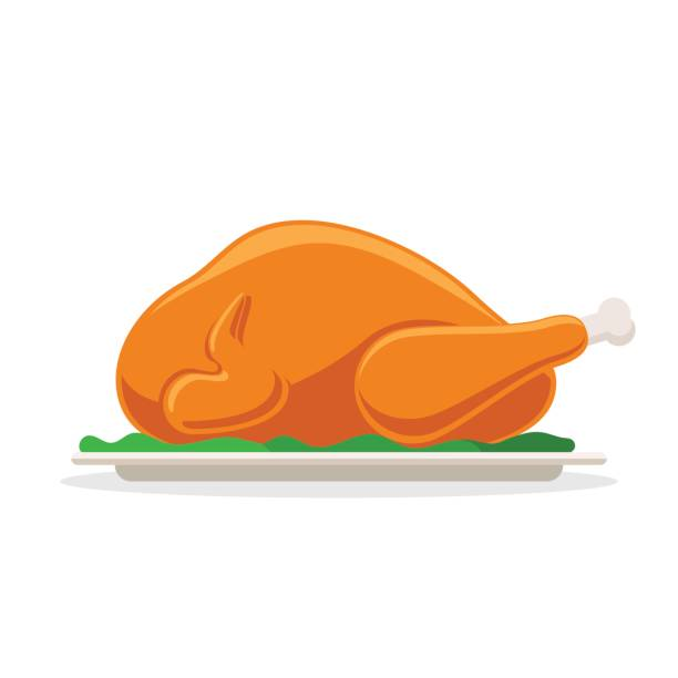 illustrazioni stock, clip art, cartoni animati e icone di tendenza di roasted bird on a platter - cena natale