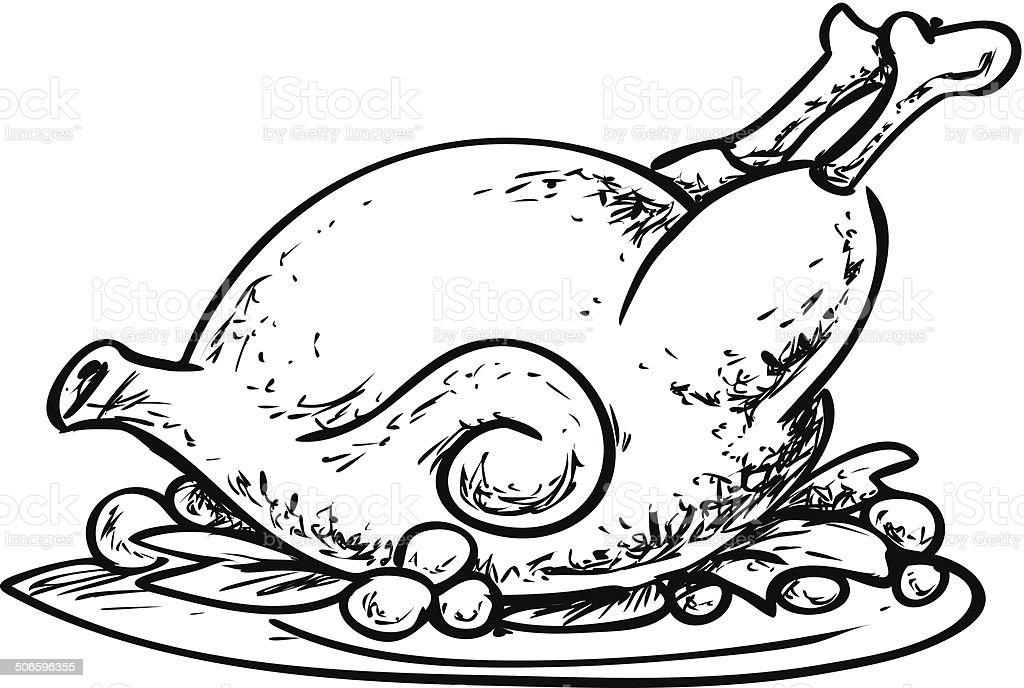 Poulet grill griffonnage vecteurs libres de droits et plus d 39 images de aile d 39 animal istock - Dessin de poulet roti ...