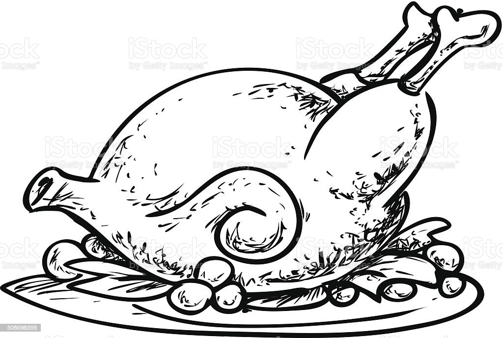 Roasted Chicken Doodle vector art illustration