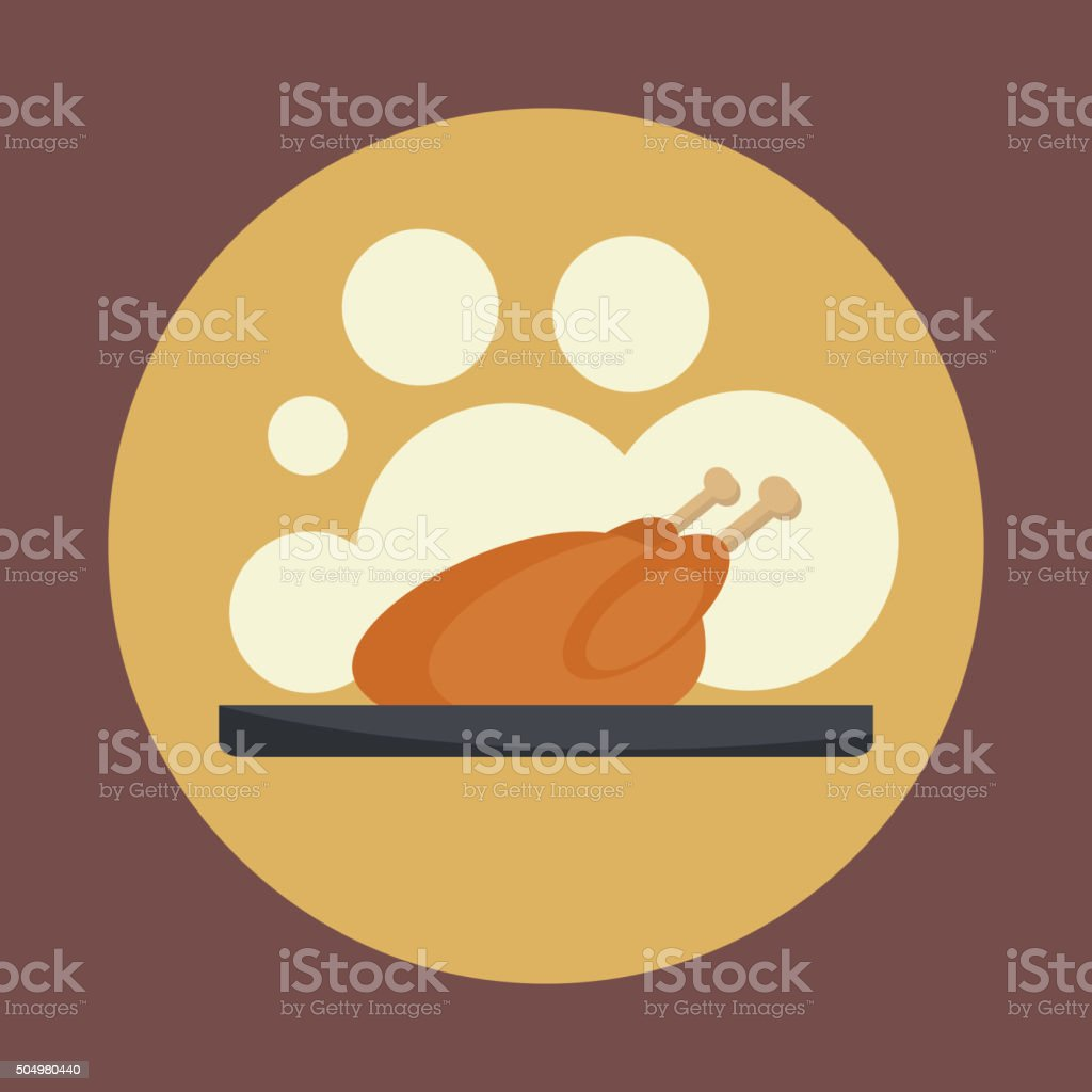Roasted chicken icon. vector art illustration