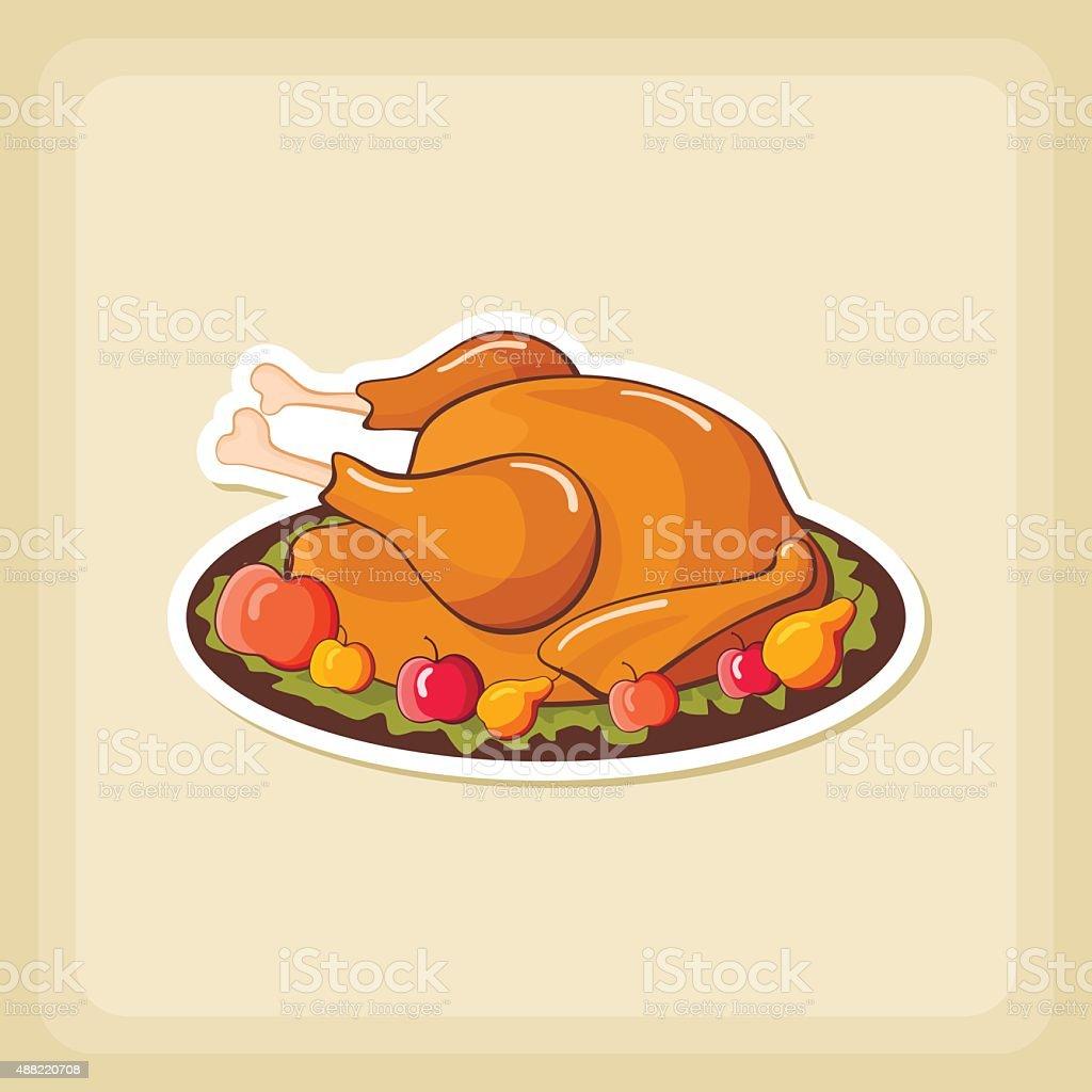 Roasted chicken or Turkey ready for Thanksgiving vector art illustration